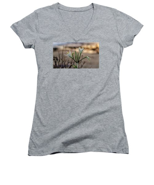 Pancratium Maritimum L. Women's V-Neck (Athletic Fit)