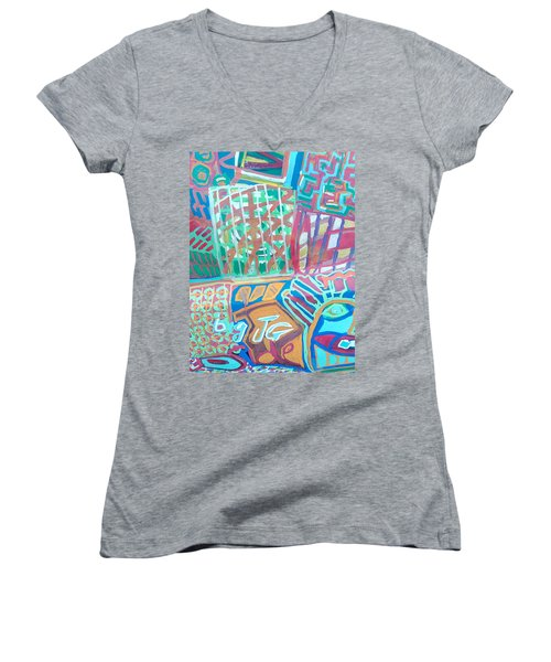Panel Of Hand Painted Mondeo Women's V-Neck T-Shirt