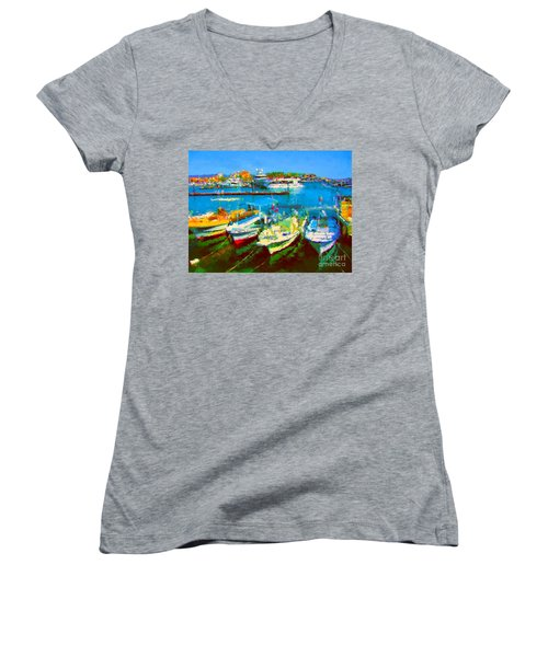 Pangas En Marina Women's V-Neck T-Shirt (Junior Cut)