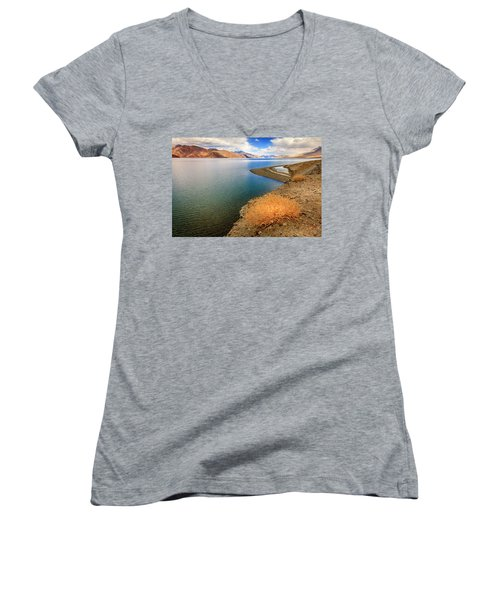 Women's V-Neck T-Shirt (Junior Cut) featuring the photograph Pangong Tso Lake by Alexey Stiop