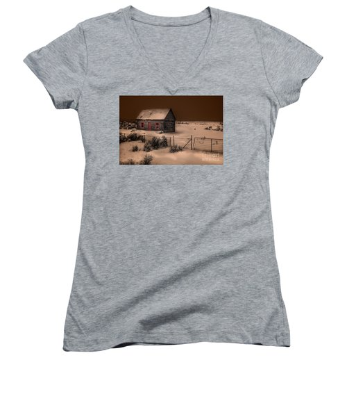 Panguitch Homestead Women's V-Neck T-Shirt (Junior Cut) by William Fields