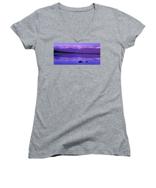 Panorama Badwater And The Panamint Range At Sunrise Death Valley Women's V-Neck