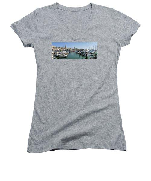 Panorama In Acre Harbor Women's V-Neck
