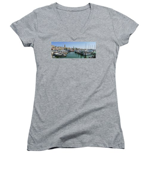 Panorama In Acre Harbor Women's V-Neck T-Shirt