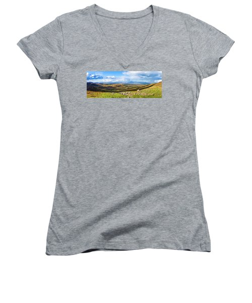 Women's V-Neck T-Shirt (Junior Cut) featuring the photograph Panorama Of A Colourful Undulating Irish Landscape In Kerry by Semmick Photo