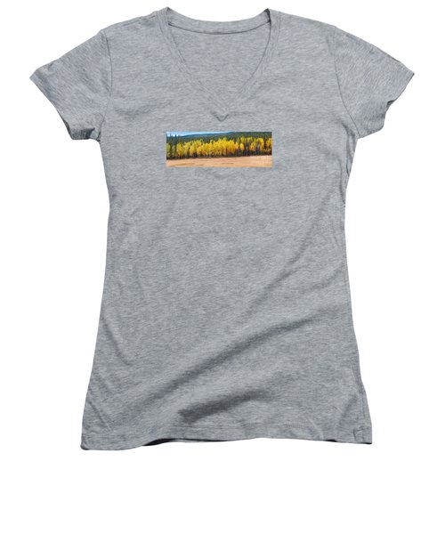 Panorama Of Aspen Grove Fall Foliage Peak To Peak Highway - Rocky Mountains Colorado State Women's V-Neck (Athletic Fit)