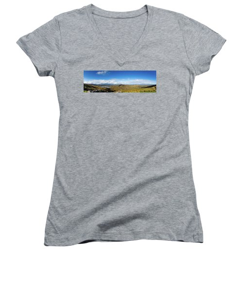 Women's V-Neck T-Shirt (Junior Cut) featuring the photograph Panorama Of Ballycullane And Lough Acoose In Ireland by Semmick Photo