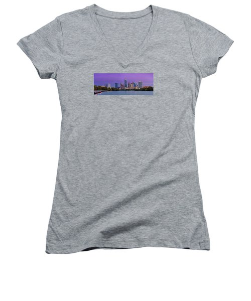 Panorama Of Downtown Austin Skyline From The Lady Bird Lake Boardwalk Trail - Texas Hill Country Women's V-Neck T-Shirt