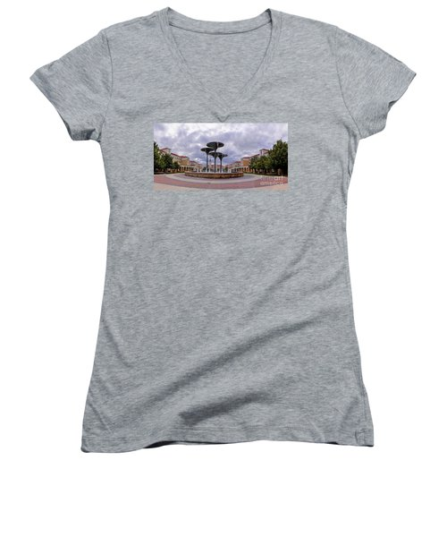 Panorama Of Texas Christian University Campus Commons And Frog Fountain - Fort Worth Texas Women's V-Neck