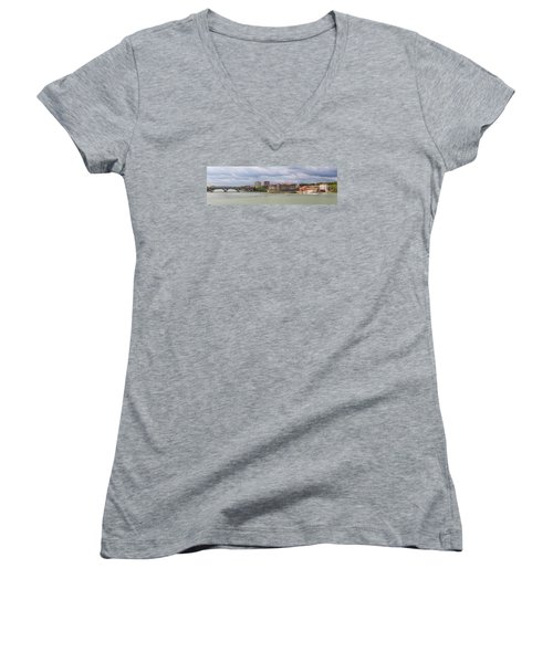 Women's V-Neck T-Shirt (Junior Cut) featuring the photograph Panorama Of The Hydroelectric Power Station In Toulouse by Semmick Photo