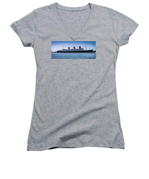 Panorama Of The Queen Mary Women's V-Neck (Athletic Fit)