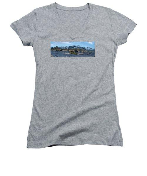 Panorama View Of An Icelandic Mountain Range Women's V-Neck T-Shirt