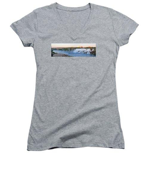 Panoramic Views Of The Peacebridge, Niagara River And American Falls Women's V-Neck