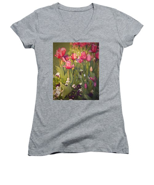 Pansies And Tulips Women's V-Neck T-Shirt (Junior Cut) by Lana Trussell