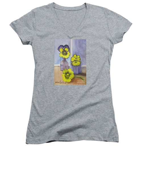 Pansies In Glass Women's V-Neck T-Shirt (Junior Cut)