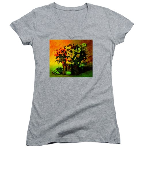 Pansies In The Vase Women's V-Neck (Athletic Fit)