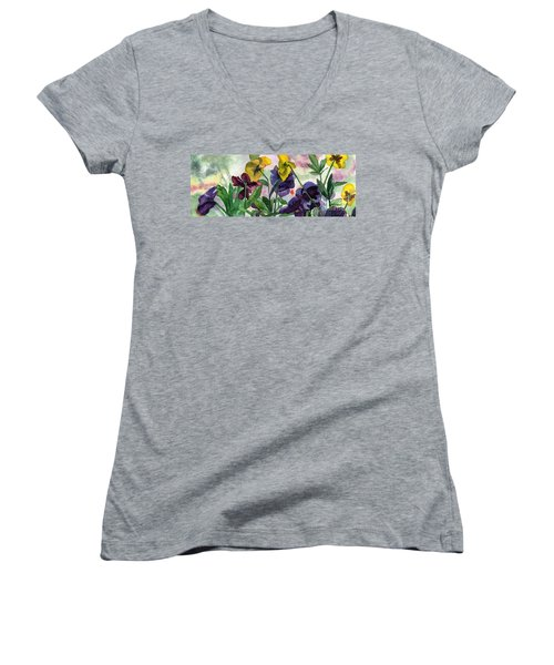 Pansy Field Women's V-Neck T-Shirt (Junior Cut) by Lynne Reichhart