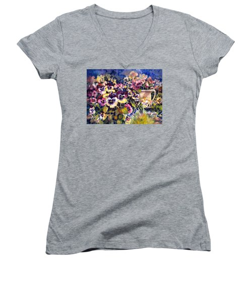 Pansy Garden Women's V-Neck (Athletic Fit)