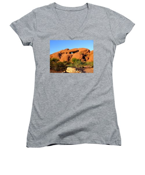 Women's V-Neck featuring the photograph Papago Park by Michelle Dallocchio