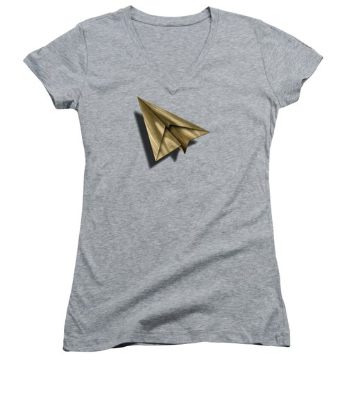 Paper Airplanes Of Wood 18 Women's V-Neck T-Shirt (Junior Cut) by YoPedro