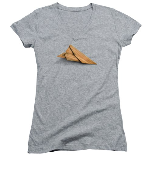 Paper Airplanes Of Wood 2 Women's V-Neck T-Shirt (Junior Cut) by Yo Pedro
