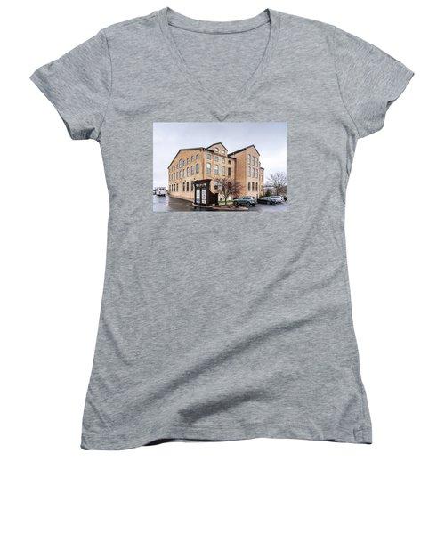 Paper Discovery Center Women's V-Neck T-Shirt (Junior Cut) by Randy Scherkenbach
