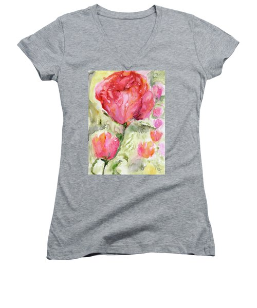 Paper Flowers Women's V-Neck (Athletic Fit)