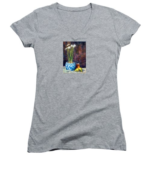 Paper Whites And Pears Women's V-Neck T-Shirt (Junior Cut)