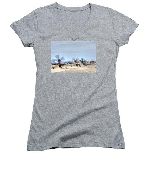 Parade Of Mustangs Women's V-Neck T-Shirt (Junior Cut)