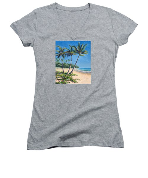 Women's V-Neck T-Shirt (Junior Cut) featuring the painting Tropical Paradise Landscape - Hawaii Beach And Palms Painting by Karen Whitworth