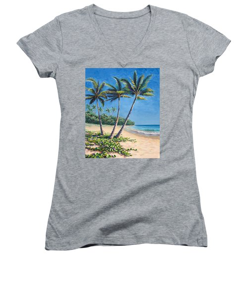 Tropical Paradise Landscape - Hawaii Beach And Palms Painting Women's V-Neck