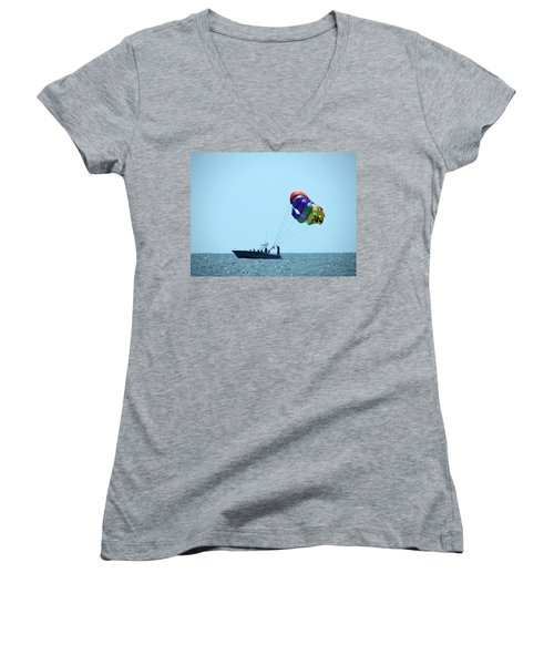 Women's V-Neck T-Shirt (Junior Cut) featuring the photograph Parasail by Cathy Harper