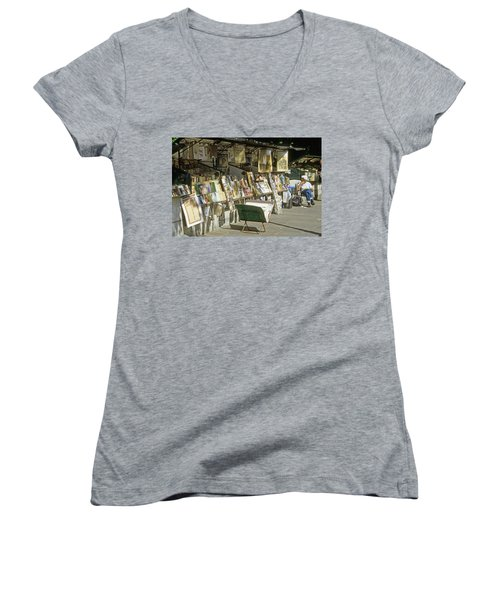 Paris Bookseller Stall Women's V-Neck