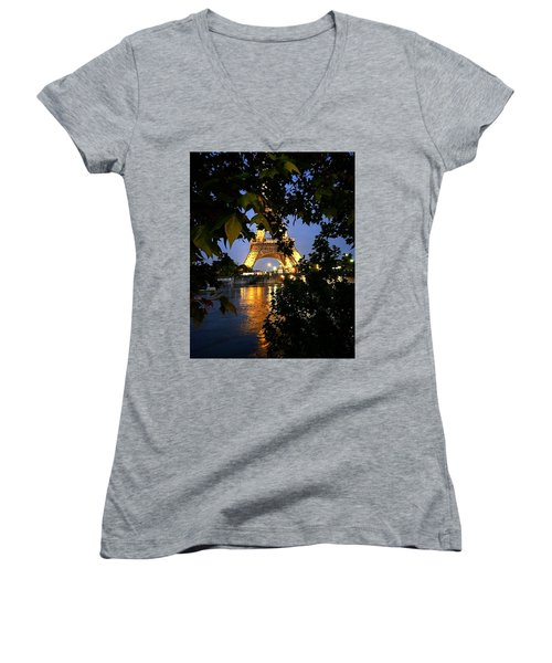 Paris By Night Women's V-Neck T-Shirt (Junior Cut) by Nancy Ann Healy