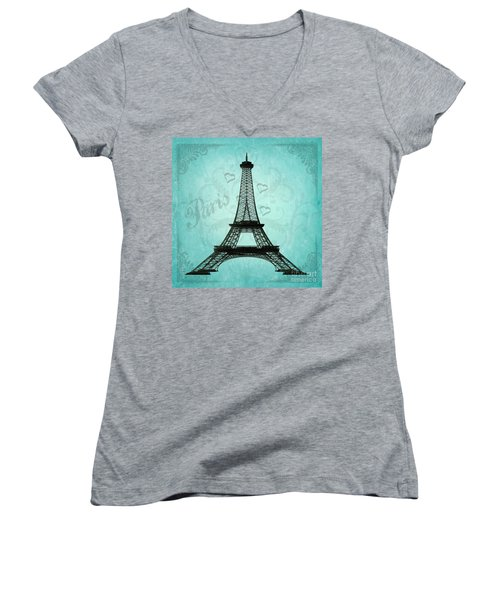 Paris Collage Women's V-Neck (Athletic Fit)