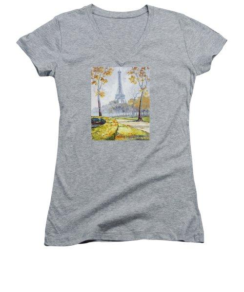 Paris Eiffel Tower From Trocadero Park Women's V-Neck T-Shirt (Junior Cut)