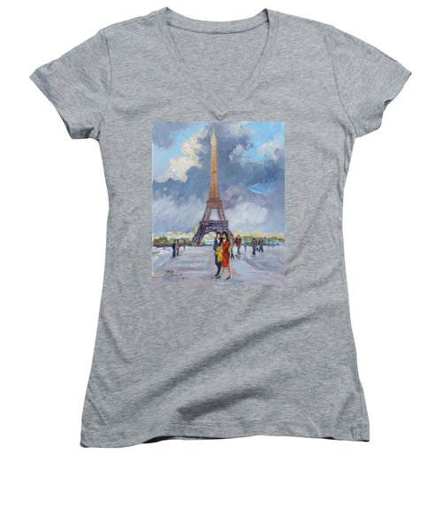 Paris Eiffel Tower Women's V-Neck (Athletic Fit)