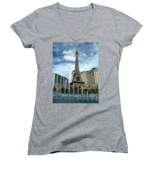Paris Hotel And Bellagio Fountains Women's V-Neck (Athletic Fit)
