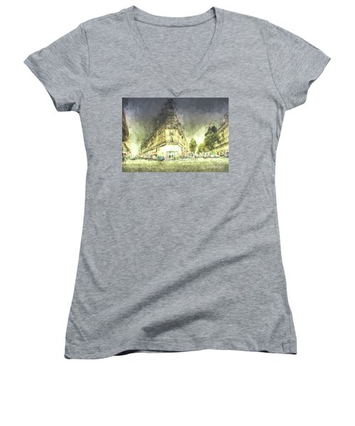 Women's V-Neck T-Shirt (Junior Cut) featuring the mixed media Paris Streets by Jim  Hatch