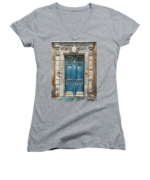 Parisian Door No. 3 Women's V-Neck T-Shirt (Junior Cut) by Joey Agbayani
