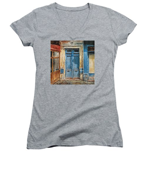 Parisian Door No.36 Women's V-Neck T-Shirt (Junior Cut) by Joey Agbayani