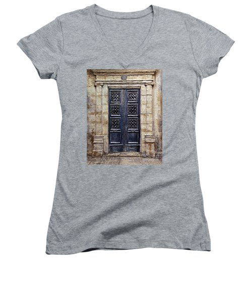 Parisian Door No.40 Women's V-Neck T-Shirt (Junior Cut) by Joey Agbayani