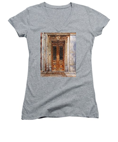 Women's V-Neck T-Shirt (Junior Cut) featuring the painting Parisian Door No.7 by Joey Agbayani