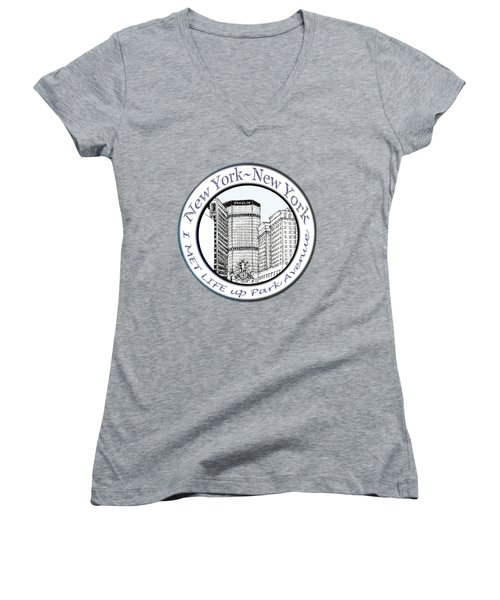I Met Life Up Park Avenue Nyc Women's V-Neck T-Shirt (Junior Cut) by James Lewis Hamilton