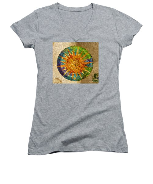 park Guell, Barcelona, Spain Women's V-Neck T-Shirt (Junior Cut) by Anastasy Yarmolovich