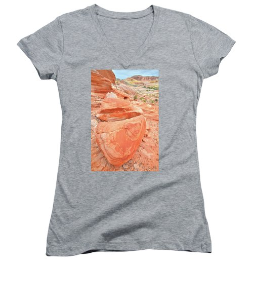 Women's V-Neck T-Shirt (Junior Cut) featuring the photograph Park Road View In Valley Of Fire by Ray Mathis