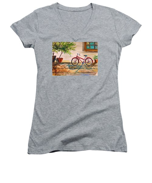 Parked In The Courtyard Women's V-Neck (Athletic Fit)
