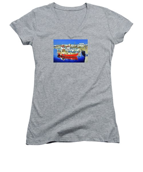 Paros Fishing Boats Women's V-Neck T-Shirt (Junior Cut) by Dennis Cox WorldViews