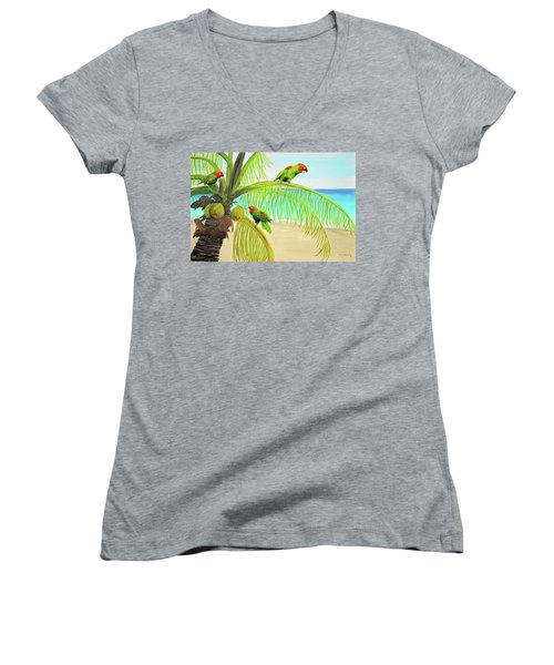 Parrot Beach Women's V-Neck T-Shirt