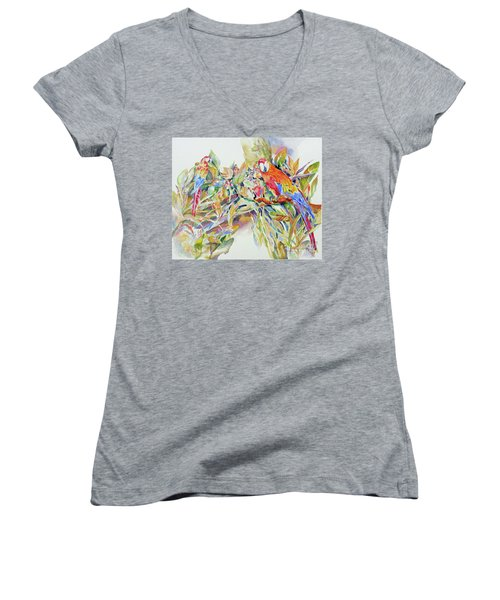 Women's V-Neck T-Shirt (Junior Cut) featuring the painting Parrots In Paradise by Mary Haley-Rocks